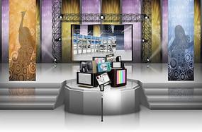 潮流展厅展台背景设计PSD分层素材