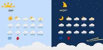 白天夜间天气图标psd素材