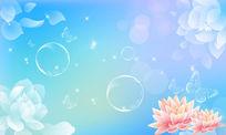 梦幻花卉展板背景PSD素材