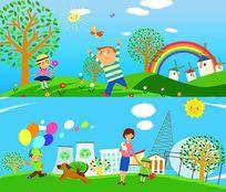幼儿园墙画图片海报PSD素材
