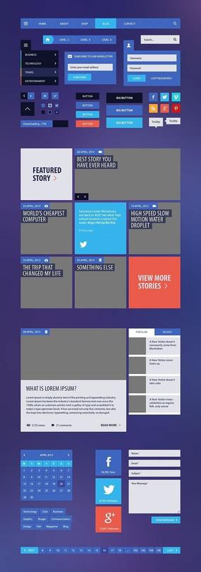 蓝色网页元素设计PSD