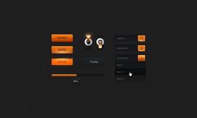 橙色网页元素包PSD素材下载