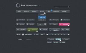 简洁的黑色PSD网页元素