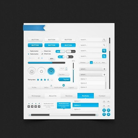 WEB蓝灰系网页元素PSD