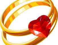 心形钻石金戒指