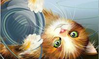 卧倒的可爱小猫玩毛线球