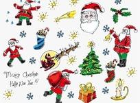 手绘风格的圣诞元素