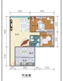两室两厅平面布局图
