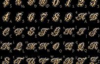 嵌入钻石的英文字母、阿拉伯数字和符号矢量素材
