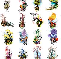 潮流花纹装饰矢量素材