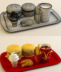 麦当劳套餐 3d素材(内附贴图)
