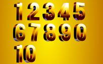 绚丽的矢量立体阿拉伯数字