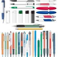 各种规格的圆珠笔中性笔矢量图