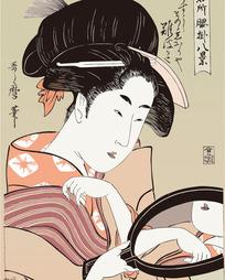 照镜子的日本美女图片[ 矢量图. AI]