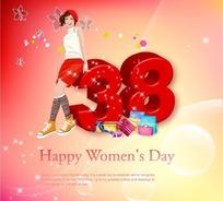 3.8妇女节矢量海报