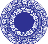 古典青花瓷矢量图