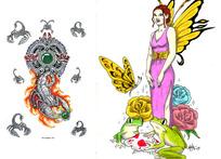 蝎子与美女手绘纹身图案