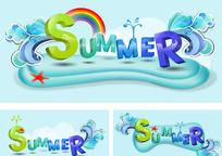 夏天主题字体矢量设计