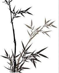 水墨竹子矢量图