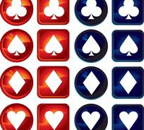 晶莹剔透的扑克牌图案水晶图标矢量素材