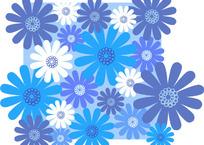 冷色菊花印花图案