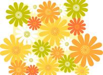 暖色菊花印花图案