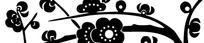 黑白梅花装饰图形