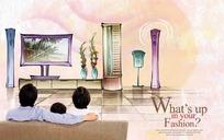 在客厅看电视的一家人PS插画