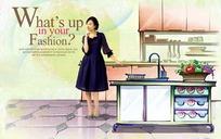 站在厨房的美女PS插画