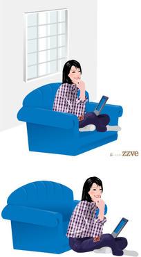 靠在蓝色沙发上的女孩子玩电脑