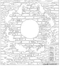 九龙壁传统图案线稿