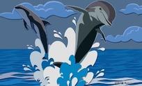 PS跳跃的海豚插画
