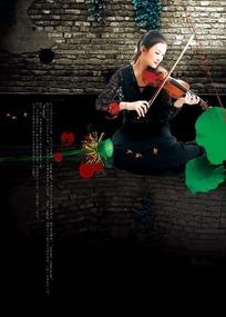 拉小提琴的美女 房地产素材