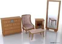 一组古典家具3D模型