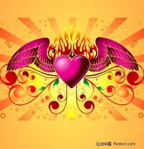 心与翅膀潮流设计插图