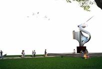 地产PS后期小区雕塑效果图