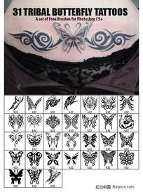 31款蝴蝶图案纹身ps笔刷下载