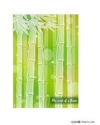 清新背景上的竹子矢量素材