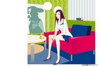 插画-坐在沙发上的美女