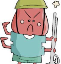 插画-拿工作铲的毛毛虫