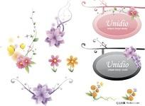 插画—花朵和漂亮挂牌