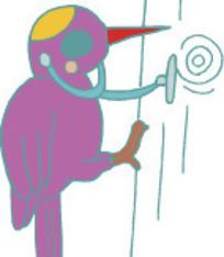 卡通插画-啄木鸟