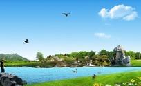 绿色草地流水