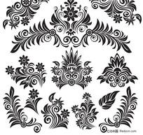 古典黑白花纹矢量素材