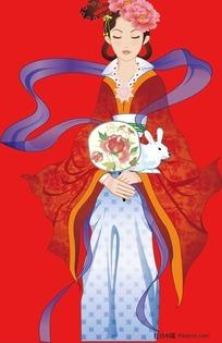 抱着玉兔的嫦娥公主图片