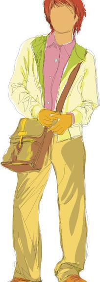 手绘-斜背着挎包的男孩