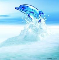 冰山里跳跃出的海豚素材