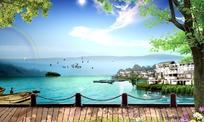 湖水彩虹渡口风景图