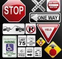 水晶交通标识图标矢量素材