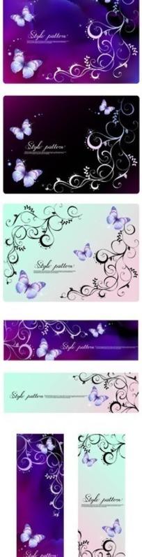 紫色梦幻背景与蝴蝶花纹矢量素材